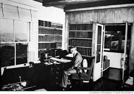 Eugene O'Neill in the library at Tao House
