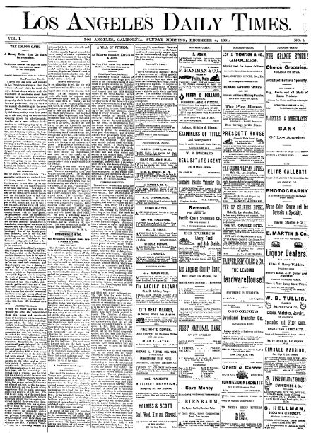 Los Angeles Times 1881