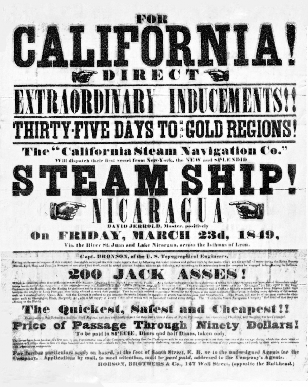 Gold Rush steamer ad