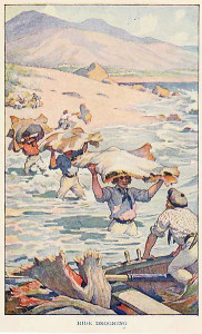 Carrying hides to a longboat. Illustration from Two Years Before the Mast (1911)