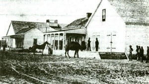 The only known photograph of an Army camel. Government Depot near Banning's Wharf.