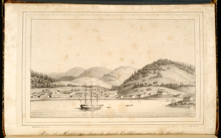 Engraving of San Francisco Bay from Duhaut-Cilly's Voyage Autour du Monde published in Paris in 1834-1835.