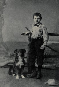 Jack London, age 9, with his dog Rollo in 1885.
