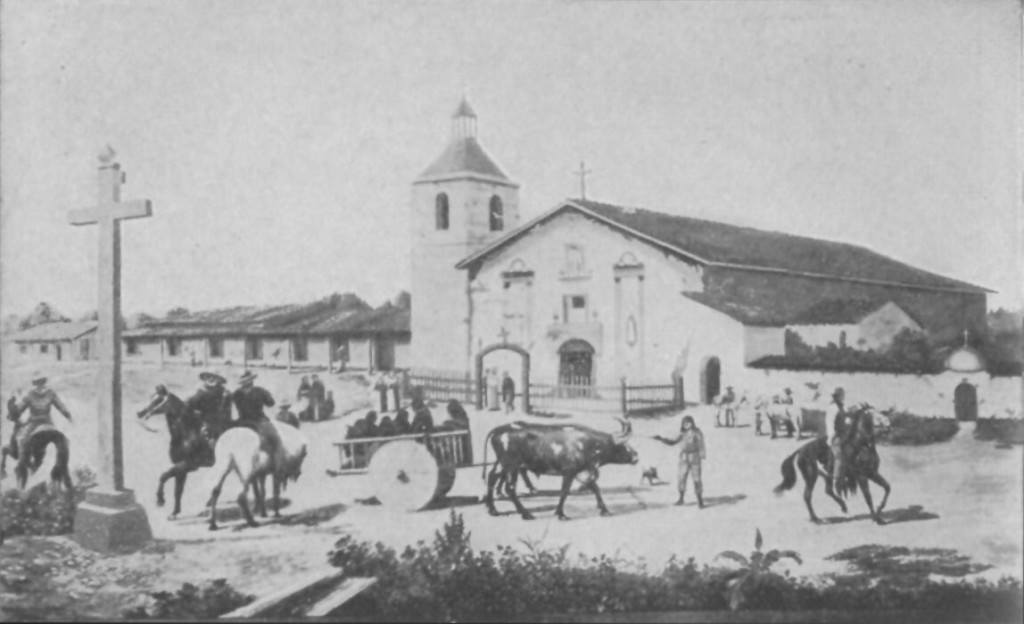 Mission Santa Clara in 1849. Based on a painting by A.P. Hill.