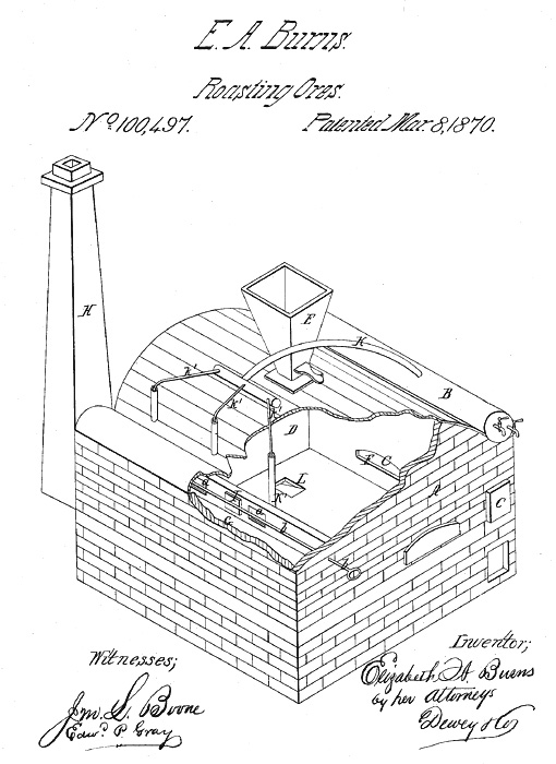 Elizabeth A. Burns patent for roasting ores (1870).