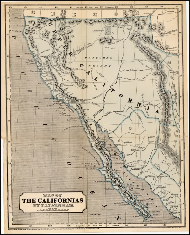 California map published in 1845.