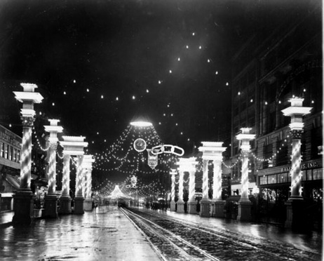 Market Street in San Francisco was first illuminated by Joseph Neri during the national and city celebration of July 4, 1876. Photo courtesy of University of San Francisco.