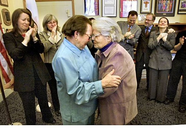 Phyllis Lyon, left, and Del Martin, who have been together for 51 years, embrace after their marriage at City Hall in 2004. They were the first legally married same-sex couple in San Francisco. Photo: Liz Mangelsdorf, The Chronicle