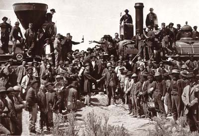 Golden Spike ceremony completing the Transcontinental Railroad.