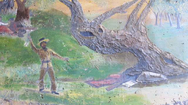 Mural at the Placerita Canyon Nature Area depicting Francisco Lopez y Arbello's discovery of gold.