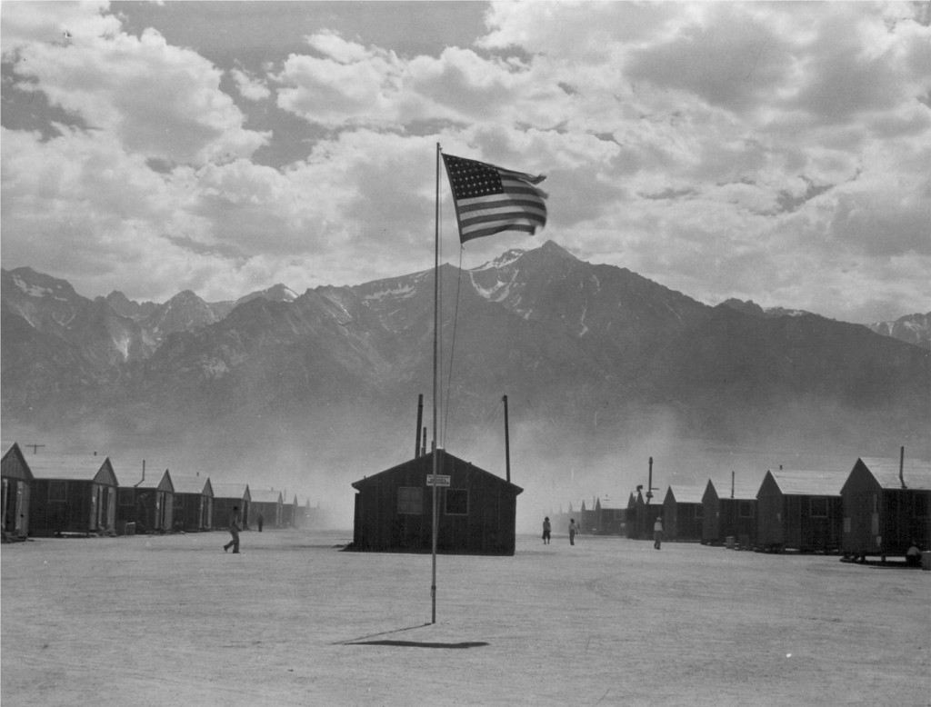 A hot windstorm brings dust to Manzanar from the surrounding desert July 3, 1942.