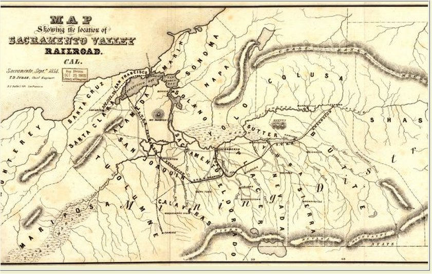 Map showing the location of Sacramento Valley Railroad, Cal. Sacramento, Septr., 1854; T.D. Judah, Chief Engineer