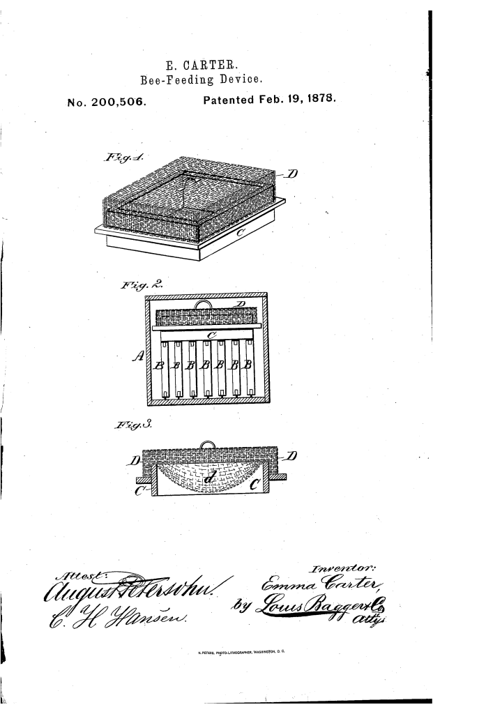 Emma Carter bee-feeding device patent
