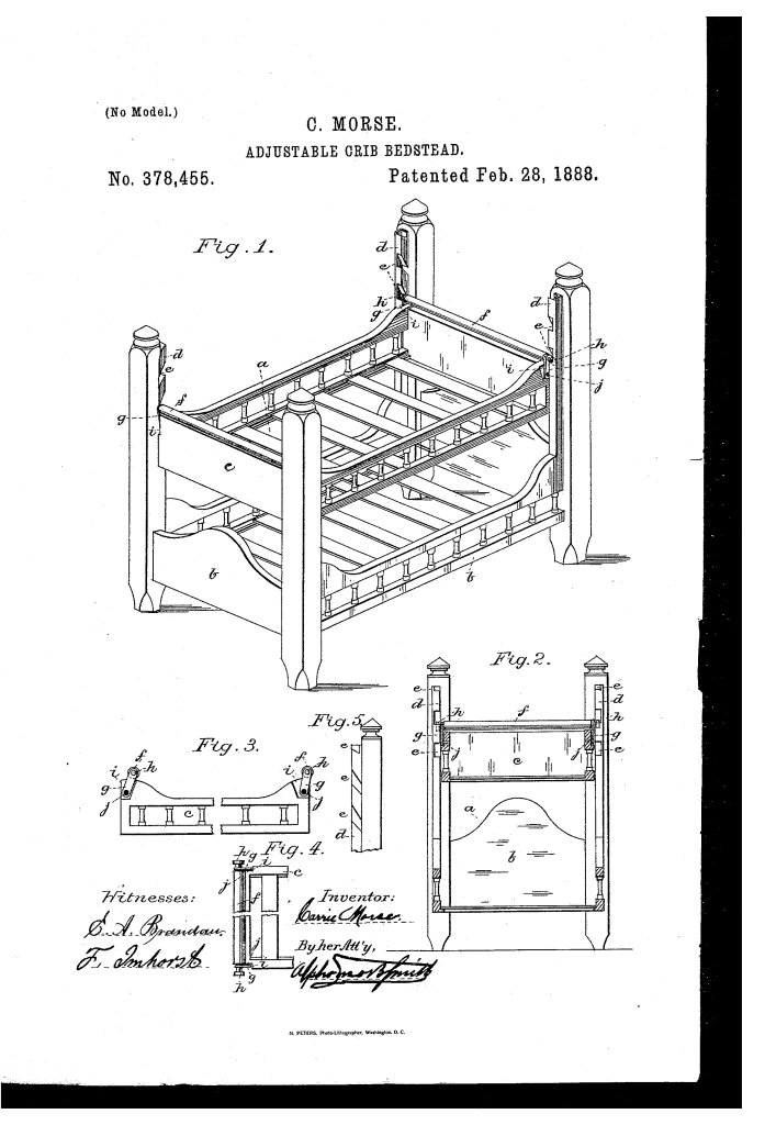 Carrie Morse of San Francisco patented adjustable crib-bedstead (1888)
