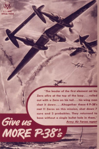 A U.S. Army WWII poster depicting the P-38 Lightning in action against Japanese Zeros in the Pacific.