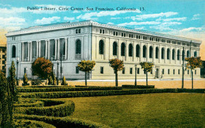 Postcard featuring the San Francisco Public Library, Civic Center in 1917