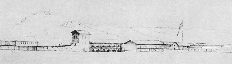 Sonoma Plaza drawn by George Gibbs in 1851