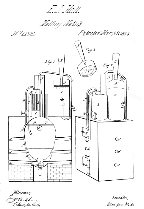 Eliza Hall patent for a furnace for smelting ore (1864).