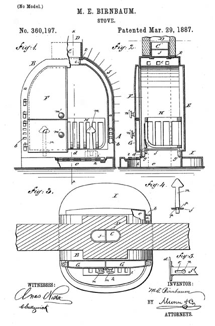 Mary Birnbaum patented a stove (1887).