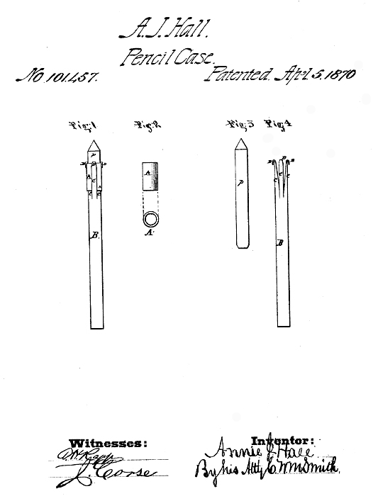 Annie J. Hall patented an improvement in pencil holders.