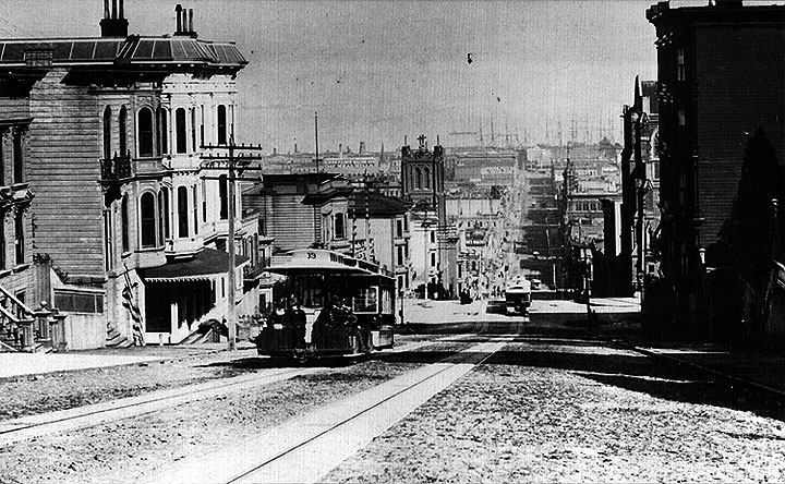 Early San Francisco Cable Car on Clay Street, 1878. Photos: San Francisco History Center, SF Public Library.
