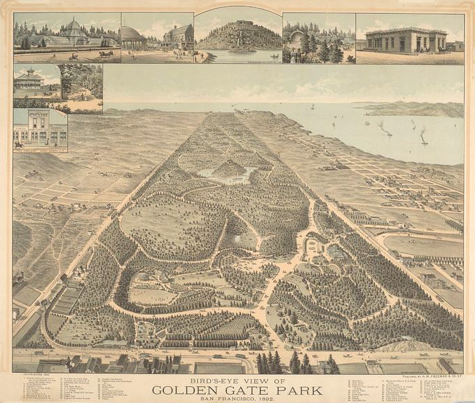Bird's-eye view of Golden Gate Park, San Francisco (1892).