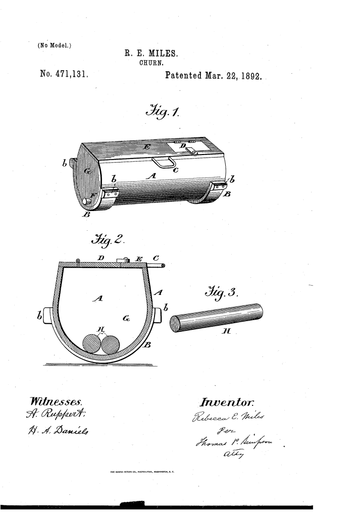 Rebecca Miles patented a milk churn (1892).