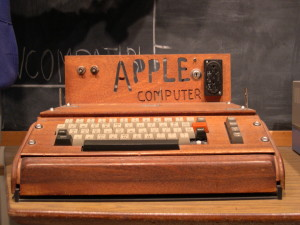 Apple I computer, with a homemade wooden computer case.