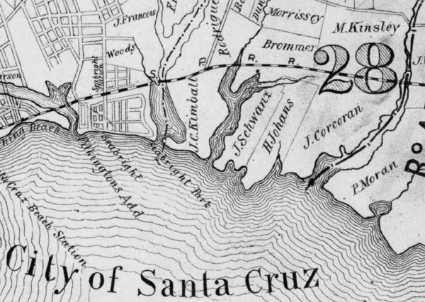Closeup of the City of Santa Cruz Photograph courtesy of the Library of Congress.