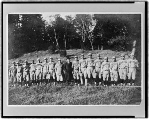 Waseda University baseball team to visit U.S., now in Honolulu. Photographic print by Bain News Service.