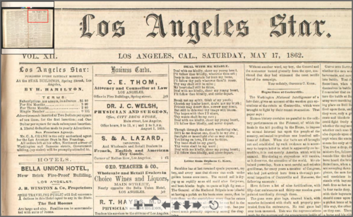 Los Angeles Star (1862).