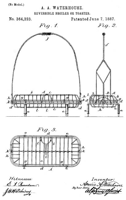 Amelia Waterhouse patented a reversible broiler & toaster (1887).