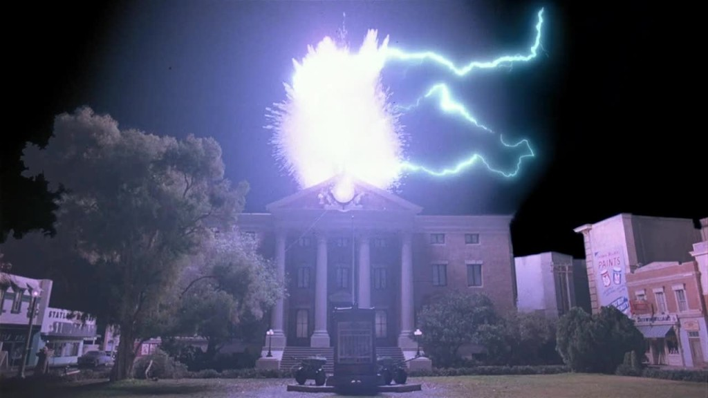 Exploding clock tower. Back to the Future (1985).