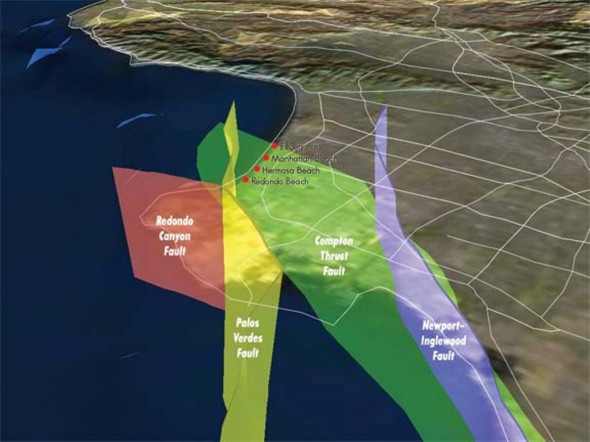 Earthquake Map Los Angeles. Red marks Redondo Canyon Fault, yellow marks Palos Verdes Fault, green marks Compton Thrust Fault, blue marks Newport-Inglewood.