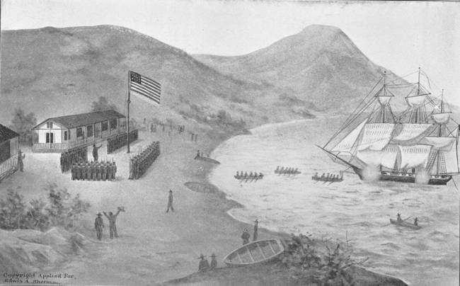 Raising the U.S. flag at Yerba Buena in 1846. Illustration by W. A. Coulter (1902).