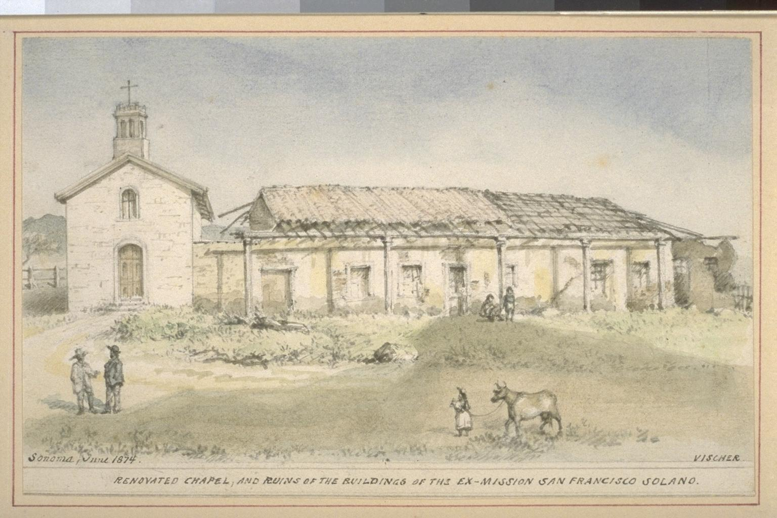 Renovated chapel, and ruins of the buildings of the Ex-Mission San Francisco Solano (1874). Courtesy UC Berkeley, Bancroft Library.