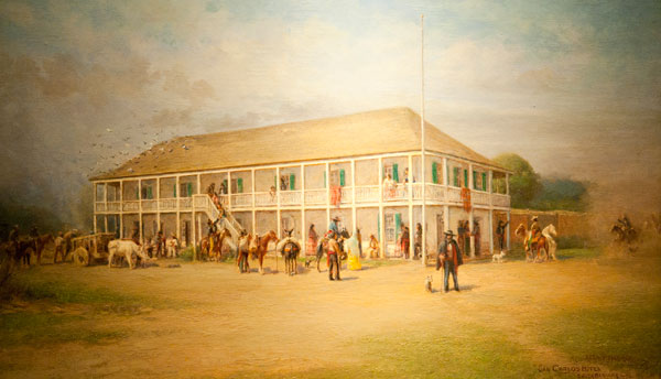 The Alpheus B. Thompson home in Santa Barbara, where Fremont raised the U.S. flag and established his headquarters. Painting by Alexander F. Harmer (circa 1913).