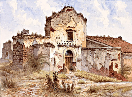 Mission San Diego de Alcalá. Oil on canvas by Edwin Deakin (1899).