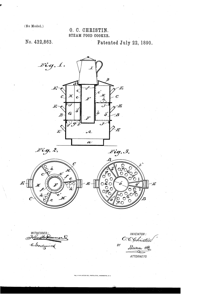 Olive Christin of Bodie patented a steam cooker (1890).