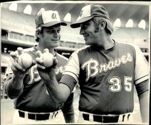 Phil and Joe Niekro, both pitchers, demonstrate a knuckleball grip.