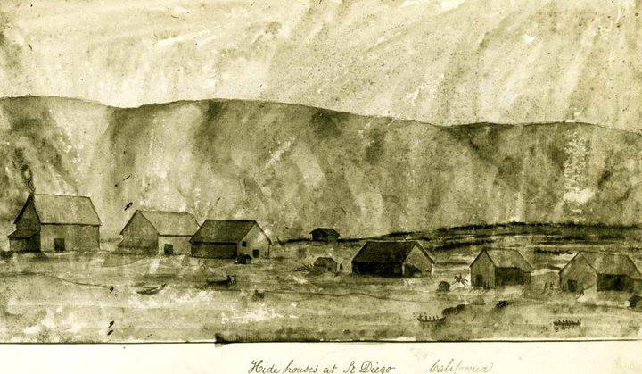 San Diego hide houses drawn by William H. Myers, gunner on the USS Cyane (circa 1834).