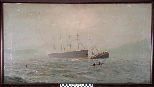 Collision of Oceanic and City of Chester, painting by Robert Gilbert (1888).