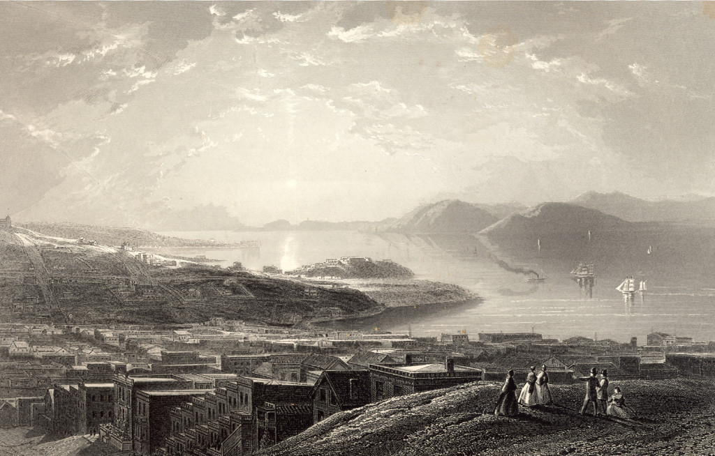The golden gate from Telegraph Hill in San Francisco in 1872. An engraving from a study by James D. Smillie, engraved by E. P. Brandard and published in Picturesque America, D. Appleton & Company, New York, New York 1872.