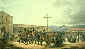 Native Americans at Mission Dolores drawn by Louis Choris (1816).