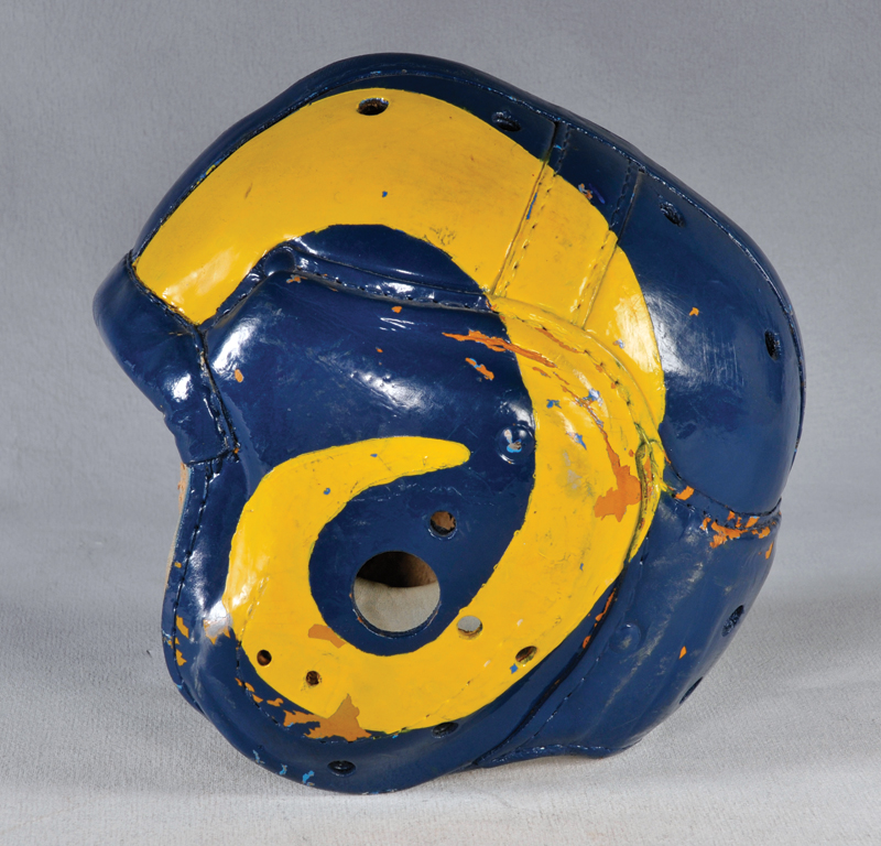 Los Angeles Rams leather helmet (late 1940s).