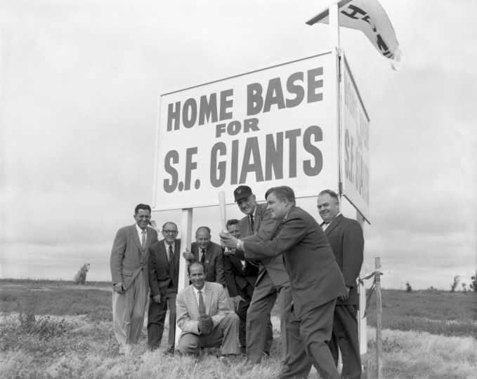 San Francisco Giants staff gather at Candlestick Point to promote where the new home of the Giants will be built (1957).