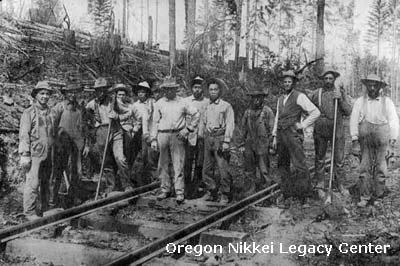 The Oregon and California Railroad Company relied on Chinese laborers to build its Portland Roseburg line in the 1870s, courtesy Oregon Nikkei Legacy Center.