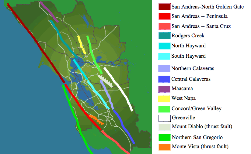 San Francisco Bay Area earthquake faults.