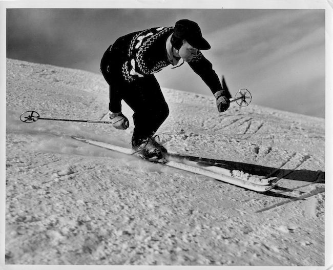 Warren Miller, photo by Ray Atkeson, Squaw Valley (1950).