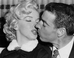 Marilyn Monroe and Joe DiMaggio on their wedding day (1-14-1954).